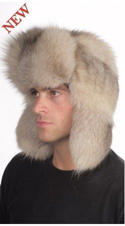Grey fox fur hat Russian style, for men